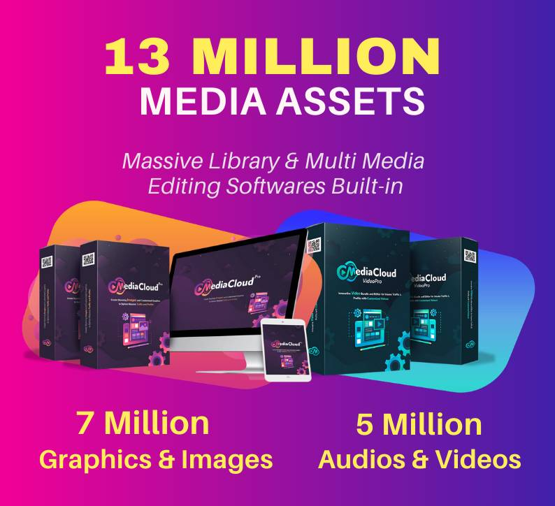 MediaCloudPro - 13 Million Media Assets, Stock Videos, Stock Photos, Image Editor & Video Editors